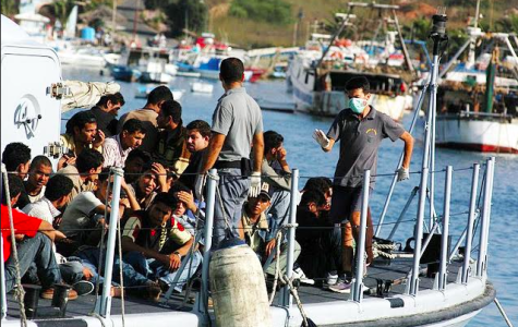 Overcrowded boat of migrants